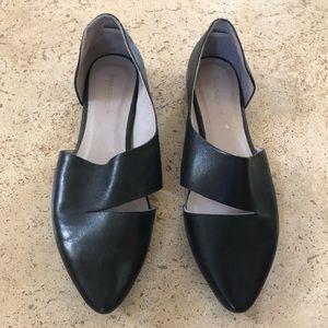 Black leather flat